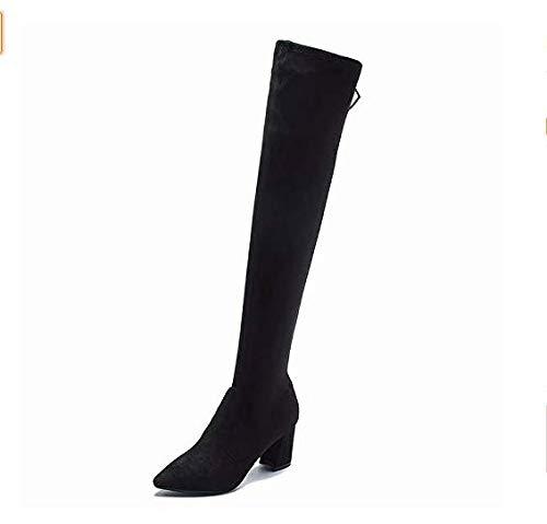 Qiusa High Heels Über dem Knie Lange Stiefel Stiefel Stiefel über dem Knie Stiefel hoher Absatz dick mit dünner elastischer Persönlichkeit (Farbe   Schwarz Größe   36) cb5cc3