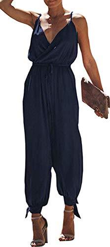 Women's V Neck Floral Print Spaghetti Strap Split Beam Foot Jumpsuit Rompers (Color : Navy, Size : XXL) ()