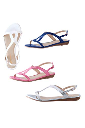 Chadwicks Stacked Wedge Loop Sandals by Boston Design Studio Pink Carnation ()