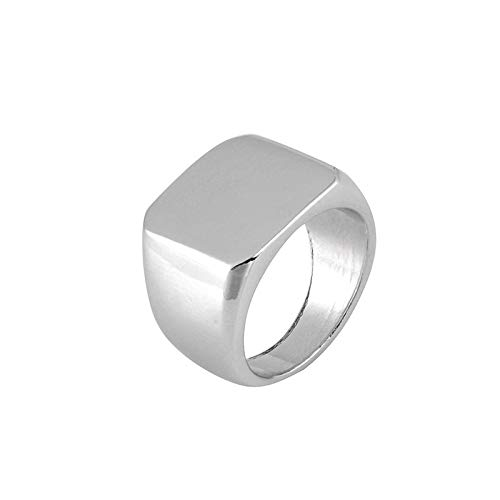 (The Belcher's Men's Width Signet Square Biker Rings Solid Polished Punk Gothic Simple for Men Women -Silver 7)