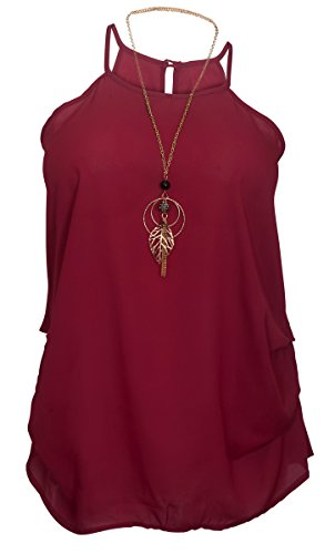 EVogues Plus Size Sleeveless Chiffon Keyhole Top Burgundy - 2X