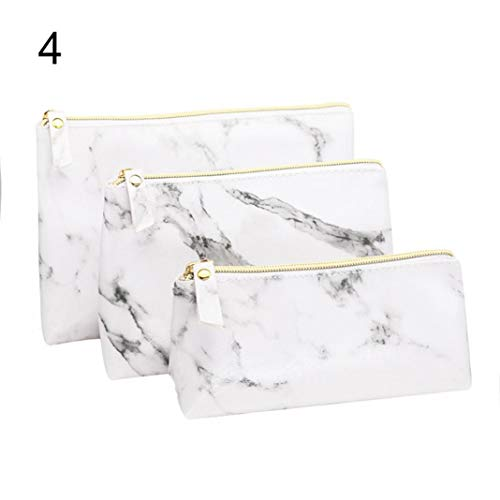 piRA8 Toiletry Pouch Faux Leather 1/3Pcs Marble Pattern Travel Makeup Cosmetic Bag - 4# (American Makeup Brand Owned By L Oreal)
