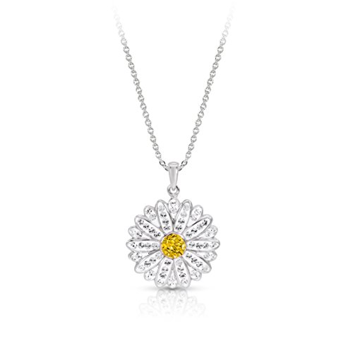 BLING BIJOUX Daisy Flower with Crystal pendant necklace Sterling Silver Rhodium-Plated Hypoallergenic, with Free Gift Box (White Rhodium Flower Pendant)