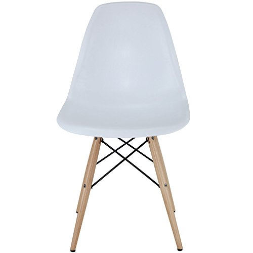Modway Pyramid Side Chair with Natural Wood Legs in White by Modway (Image #2)