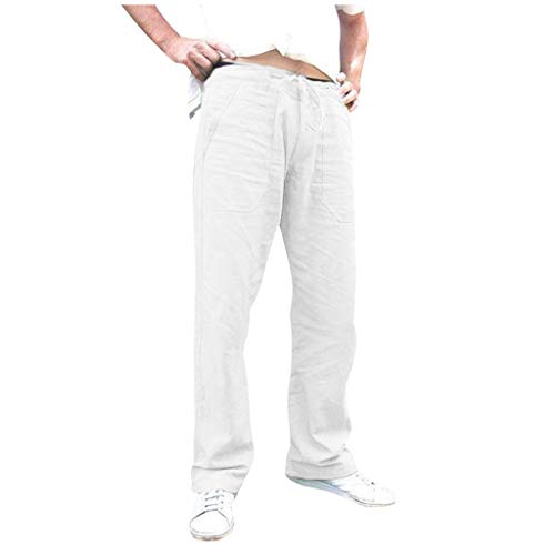 iYYVV New Mens Thin Cotton Linen Casual Pocket Drawstring Loose Trouser Long Pants White