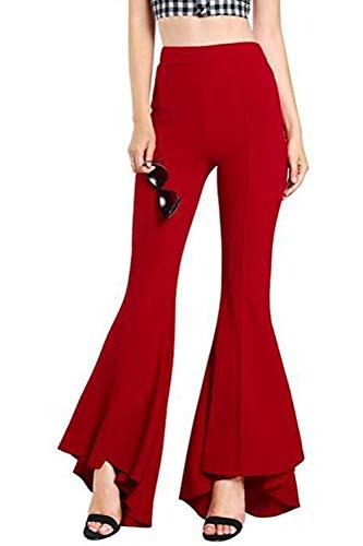 Femme Élégant Pantalon Pour Bell Taille Fasumava Rouge Printemps Haute Bottom Dailywear Automne wx77tnRq04