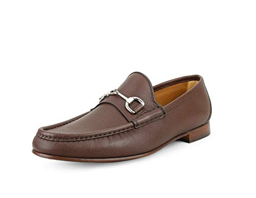 Gucci Men's Classic Pebbled Leather Horsebit Loafer, Cocoa (Brown) (12.5 US / 12 UK)