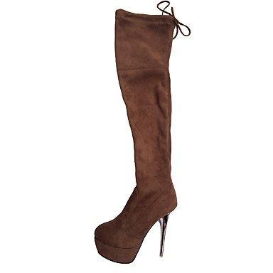 RTRY Zapatos De Mujer De Cuero De Nubuck Moda Otoño Invierno Botas Botas Stiletto Talón Plataforma Puntera Redonda Sobre La Rodilla Botas Lace-Up For Casual US8 / EU39 / UK6 / CN39