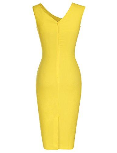 Le Style Rétro Des Années 1950 Des Femmes Muxxn Manches Mince Robe Crayon D'affaires Jaune