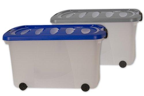 Boîte De Rangement Plastique 60 X 40 X 32Cm À Roulettes: Amazon.Fr