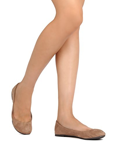 Breckelles FH40 Women Faux Suede Round Toe Ballet Flat Natural YyJBGLgTP