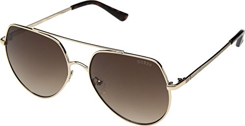 GUESS Unisex GF6057 Shiny Gold/Brown Gradient Lens One Size
