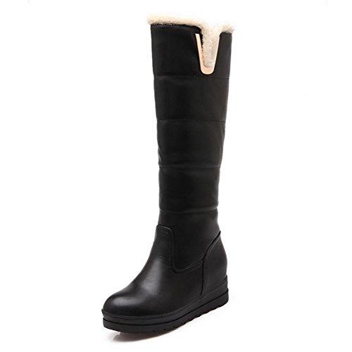AgooLar Damen Rund Zehe Rein Blend-Materialien Stiefel Schwarz-Metallstück