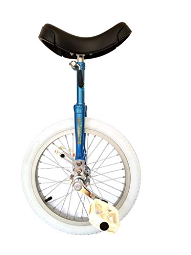 """MYS ULTIMATE Unicycle """"Fixed"""" indoor competitions white tier (16 inch) MYS original models - Blue"""