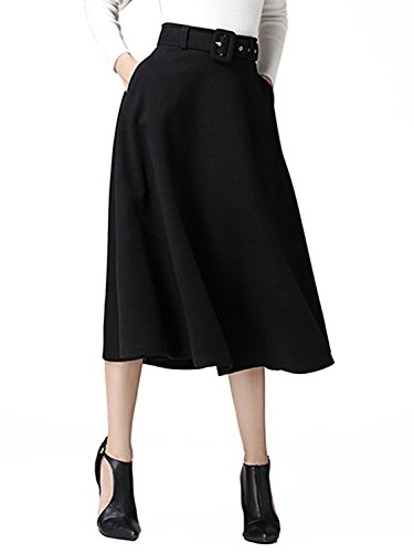Choies Women's Woolen Black Vintage High Waist Flared Swing Midi Skirt with Belt M