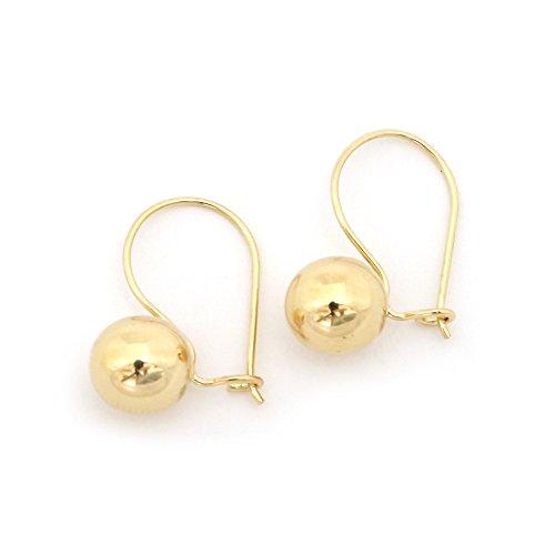 [14k Yellow Gold Polished Ball Dangle Earrings] (Gold Ball Drop)