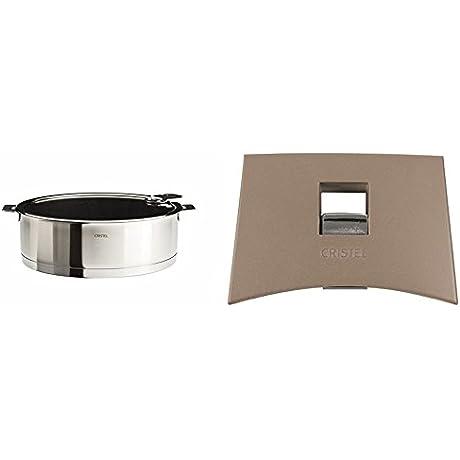 Cristel Strate S26QLEKSA Saute Pan 4 5 Quart Silver With Cristel Mutine Plmat Side Handle Taupe