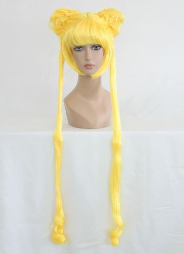 Ladie shair Cosplay peluca Amarillo 100 cm lisa Sailor Moon Bunny Usagi tsukino