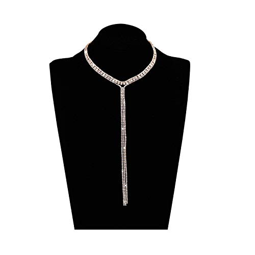 LIAO Jewelry 3 Row Rhinestone Tassel Choker Necklace Crystal Collar Necklace Gothic Wide Diamond Charms for Girls (Rose Gold) ()