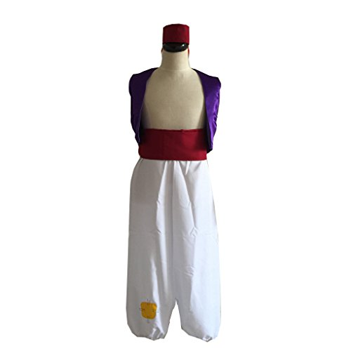 Cuterole Unisex Aladdin Costume Cosplay Halloween Party Outfit Custom Any Size (Aladdin Mens Costume)