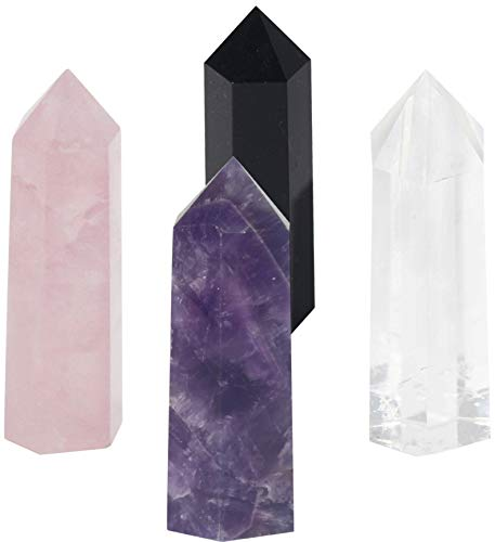 "Luckeeper Healing Crystal Wands,2"" Amethyst Crystal, Rose Quartz,Clear Quartz and Black Obsidian,6 Faceted Reiki Chakra Stones 4 pcs"