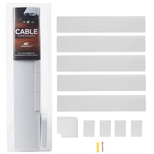 Simple Cord TV Cable Concealer II Cord Cover Raceway Kit - 5 Channels - Management System to Hide Cables, Cords, or Wires - Organize Cables to Wall Mounted Flat Screen TVs - Cable Kit Management Wall