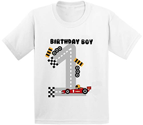 Awkward Styles Birthday Boy Infant Shirt Race Car Birthday Party for 1 Year Old White 24M