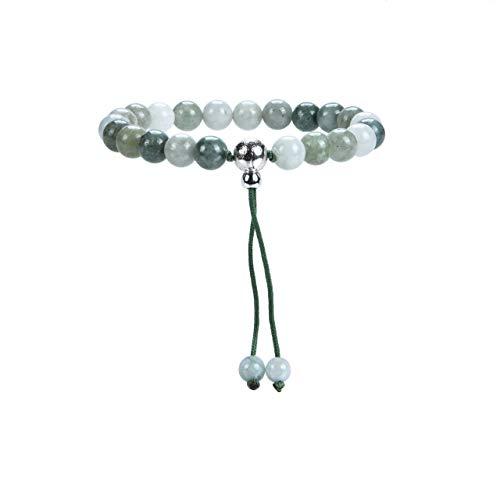 Cherry Tree Collection Mala Bracelet | 8mm Natural Gemstone Round Beads, Guru Bead, Durable Nylon Cord | Adjustable Length | Men and Women (Burma Jade - M/L)
