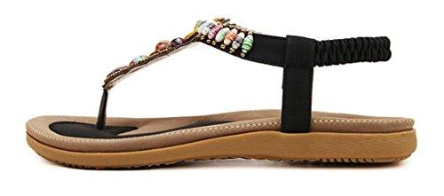 Minetom Mujer Sandalias Con Cuentas Embellecimiento Bohemio Estilo Zapatos Playa Sandalias Verano Negro
