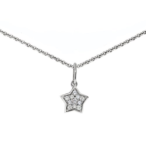 Ze Sterling Silver Diamond Star Necklace (Star Diamond Silver Sterling Necklace)