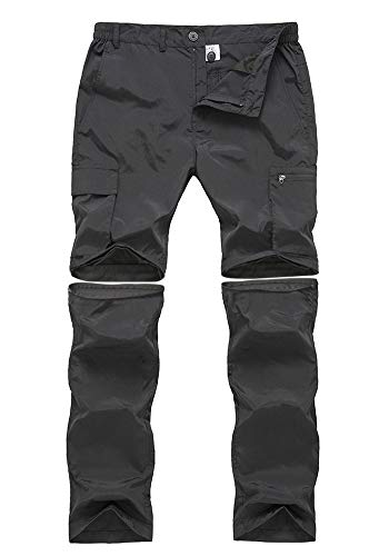 Gash Hao Outdoor Hiking Convertible Pants Mens Quick Dry Water Resistant Cargo Pockets Breathable Lightweight (Black 36x30)