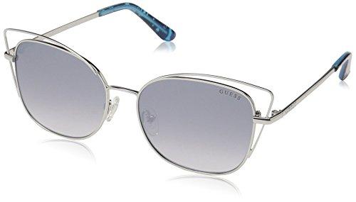 (GUESS Women's Gu7528 Cateye Sunglasses, shiny light nickeltin & blue mirror, 56 mm)