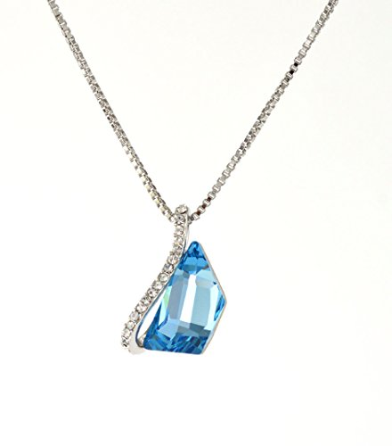 Natural Element Jewelry Designs Swarovski Elements Designer Necklace in Sky Blue Aquamarine