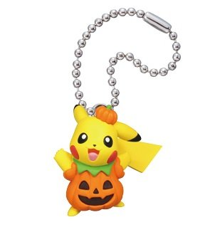 Pokemon Pikachu Halloween Figure Swing Keychain~Pumpkin Costume