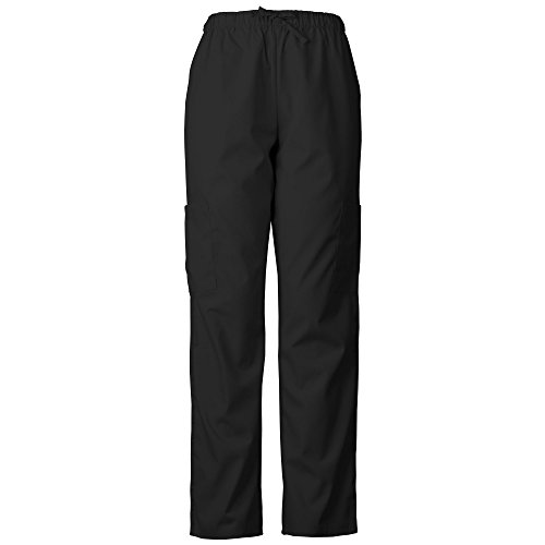 Absolute Lightweight Scrub Pants With Elastic Waist and Cargo Pockets 2013E (S, Black)