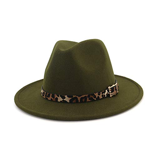 9a8e4dbbda7a Vim Tree Women's Wide Brim Felt Fedora Panama Hat with Leopard Belt Buckle  Green