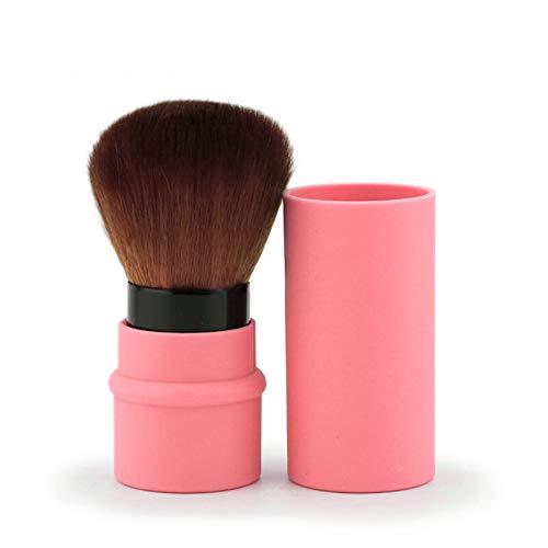 OurLeeme maquillaje suave portátil Herramientas de cepillo del maquillaje del cepillo retráctil Base de Maquillaje Pincel para Pink viajes