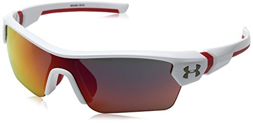 Under Armour UA Menace Wrap Sunglasses, UA Menace Shiny White / Red Frame / Gray Infrared Multiflection Lens, 58 - Infrared Sunglasses