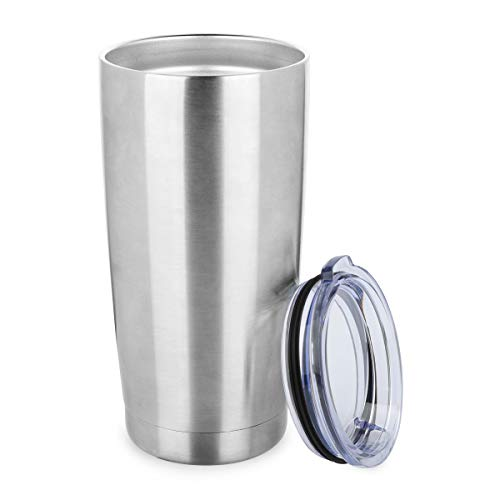 (ONEB 20 oz Double Wall Vacuum Insulated Coffee Cup - 18/8 Stainless Steel Travel Mug for Cold & Hot Drinks (Silver, 1 Pack))