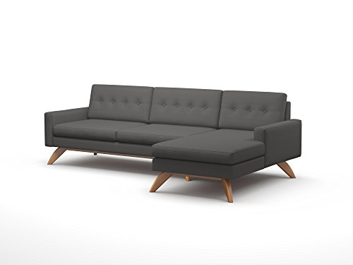 TrueModern Luna Fabric Sofa with Chaise, Espresso Finish, Right Facing, 113″, Wheatgrass