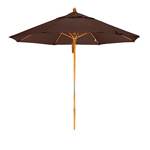 Bay Brown Rib - California Umbrella 9' Round Hardwood Pole Fiberglass Rib Market Umbrella, Stainless Steel Hardware, Pulley Lift, Sunbrella Bay Brown