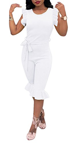 Womens Tracksuit Set Sexy Tops and Bodycon Leggings One Piece Outfits White XL