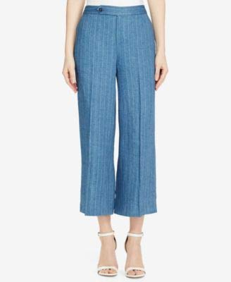 LAUREN RALPH LAUREN Womens Vasharta Linen Pinstripe Wide Leg Pants Blue 8