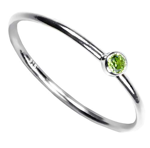 Sterling Silver Lime Green Cubic Zirconia Stacking Ring Size 8
