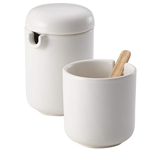 BonJour Ceramic Coffee and Tea Sugar and Creamer Set, Matte White