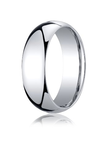 Mens 10K White Gold, 7mm Slightly Domed Standard Comfort-Fit Ring (sz 10.5) ()