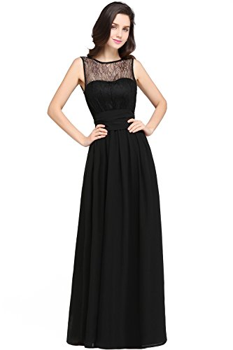 Babyonlinedress Vestido de chiffón larga para fiesta cuello redondo sin  mangas espalda semicubierta estilo A line 1f3380ee1123
