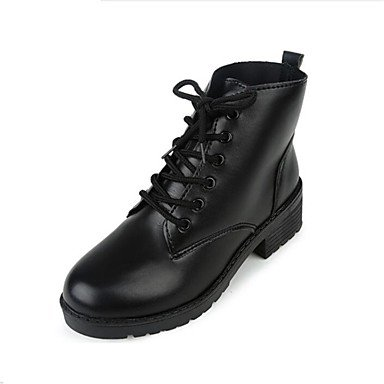 RTRY Women's Shoes Leatherette Winter Fashion Boots Boots Chunky Heel Round Toe Booties/Ankle Boots Lace-up For Casual Dress Black US8 / EU39 / UK6 / CN39 ZXUfnpXXF