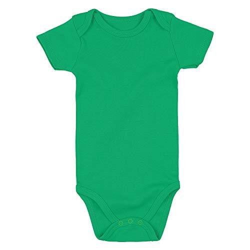 ROMPERINBOX Unisex Solid Baby Bodysuit 0-24 Months (Green, 3-6 Months)