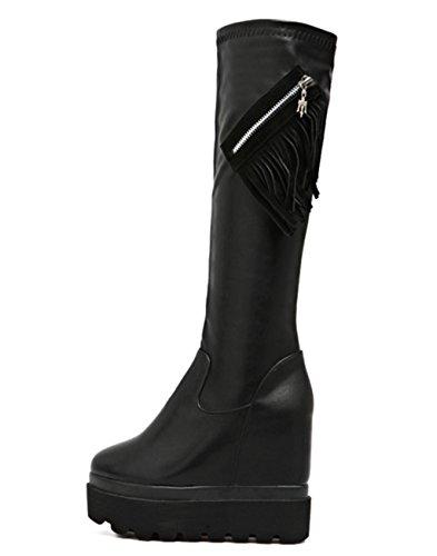 Stretch Plattform Kitzen High Heel Damen Herbst Damen Oberschenkel Farbe Overknee Kunstleder Schuhe Stiefel wTaqYp0T